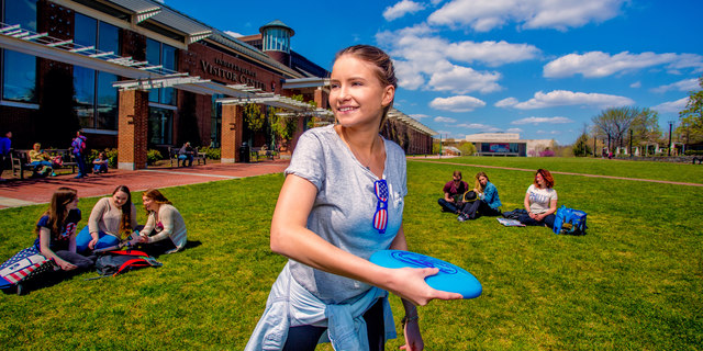 Frisbee on the Visitor Center Lawn